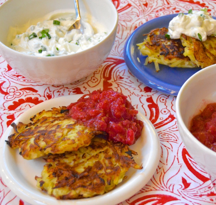 Yukon Gold Latkes with Cran-Apple Sauce & Scallion Cream