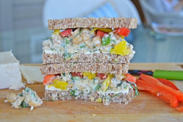 Mediterranean Chickpea Salad Sandwiches with Feta & Peppers