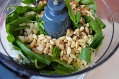 Basil, garlic & nuts.