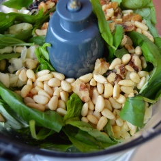 Basil, garlic & nuts.
