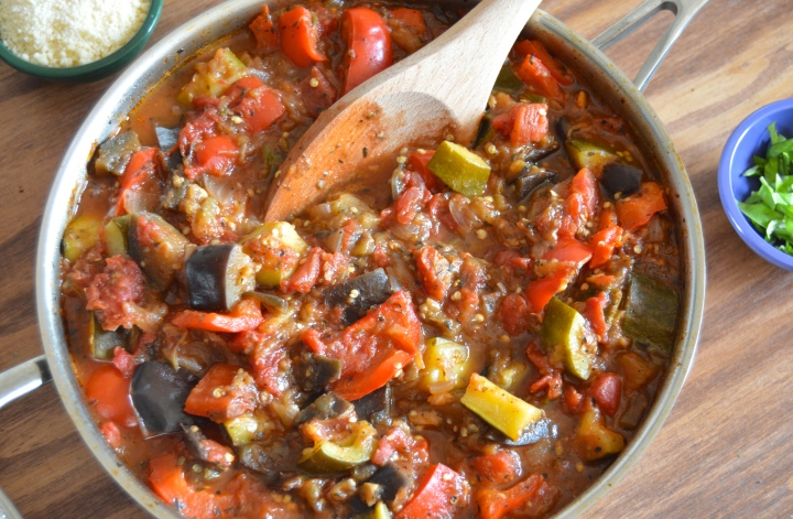 Saucy Eggplant Ratatouille Stew