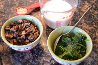 Mushrooms, garlic, milk, spinach.