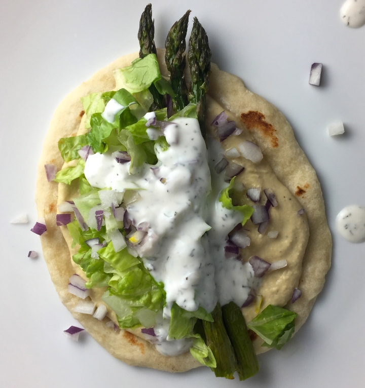 Quick & Easy: Roasted Asparagus & Hummus Gyros