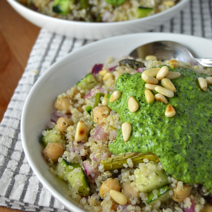 Mediterranean Quinoa Salad with Super Green Tahini Sauce