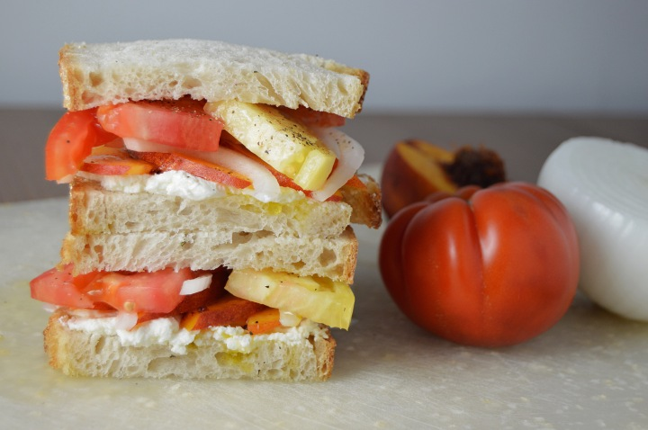 Heirloom Tomato & Peach Sandwiches with Creamy Goat Cheese