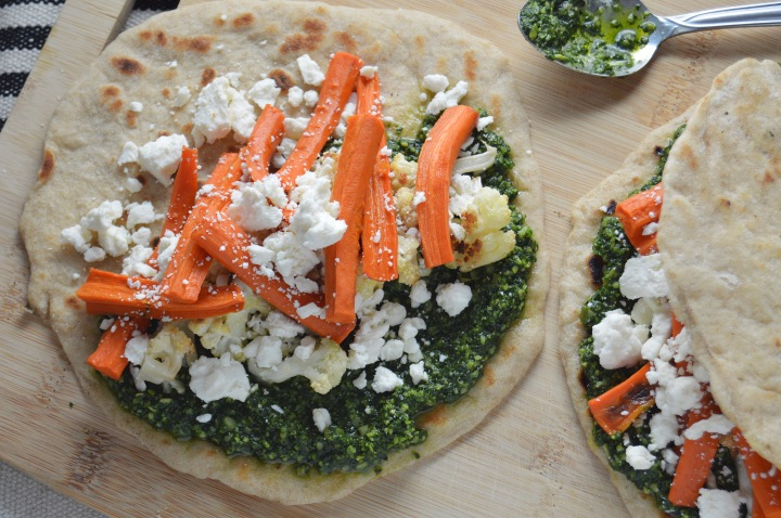 Kale Pesto & Roasted Veggie Flatbread Sandwiches