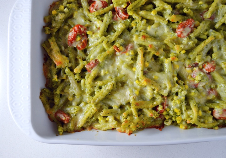 Pesto Pasta Bake with Fresh Corn & Bursted Tomatoes