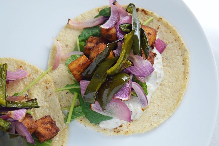 Chipotle Tofu Tacos With Roasted Poblanos & Onions