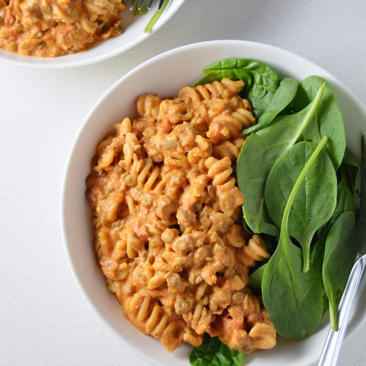 Short Cut Cooking: Whole Wheat Pasta Bowl with Vegan Tomato & Lentil Cream Sauce