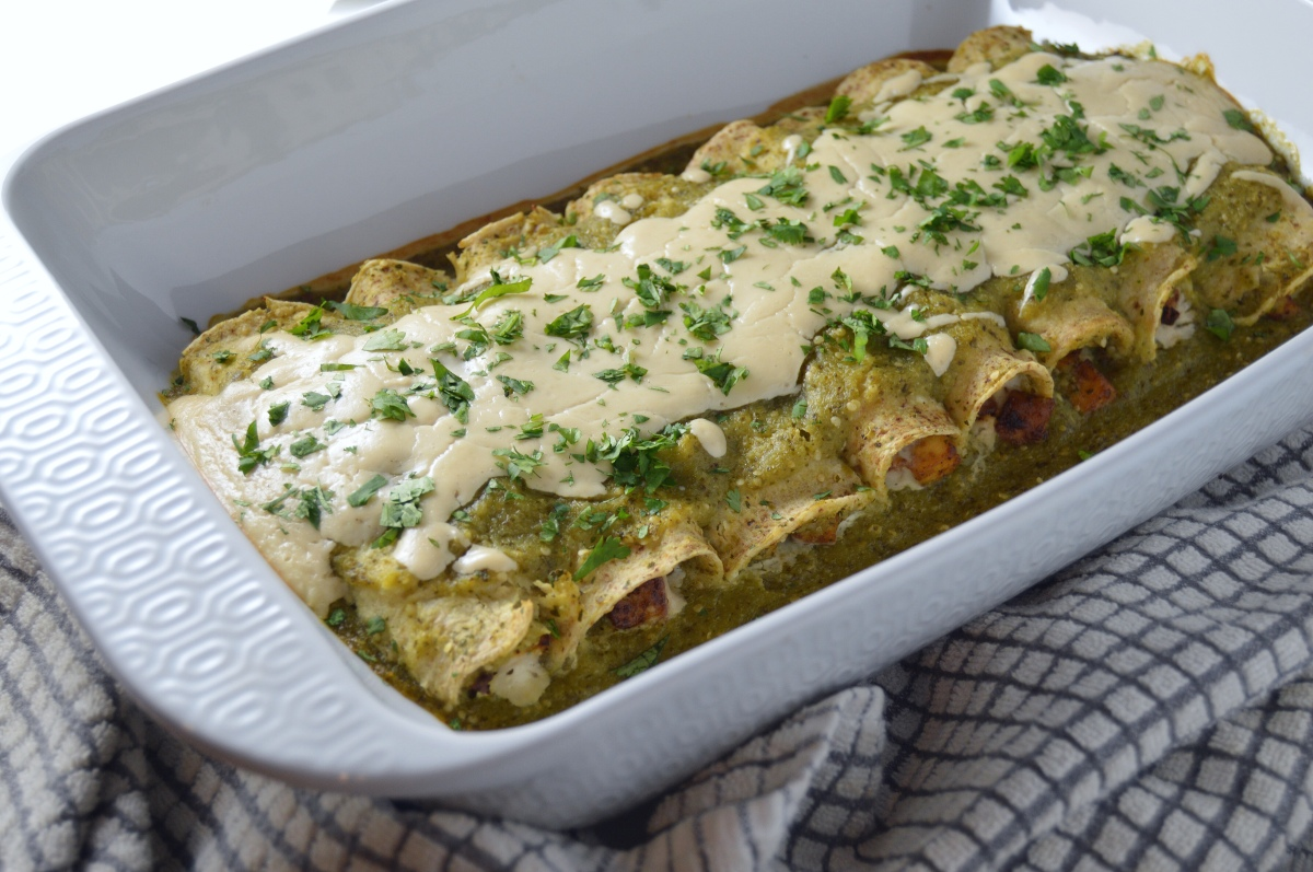 Vegan Verde Enchiladas with Chipotle Tofu