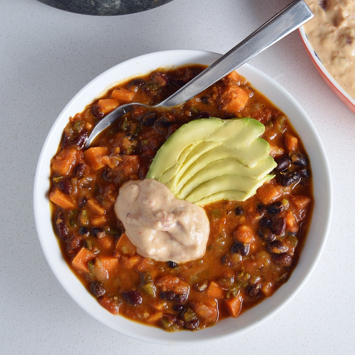 Vegan Sweet Potato & Poblano Chili