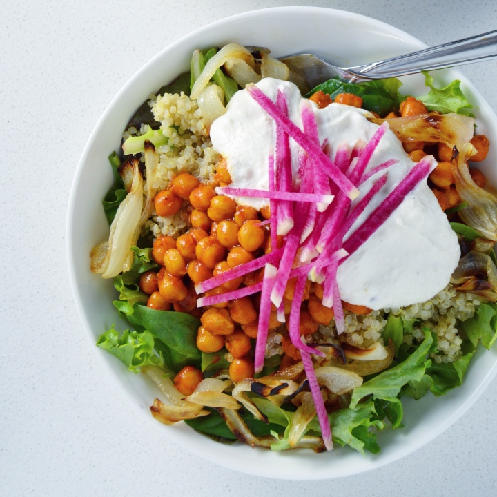 Easy Buffalo Chickpea Bowls with Feta-Yogurt Sauce
