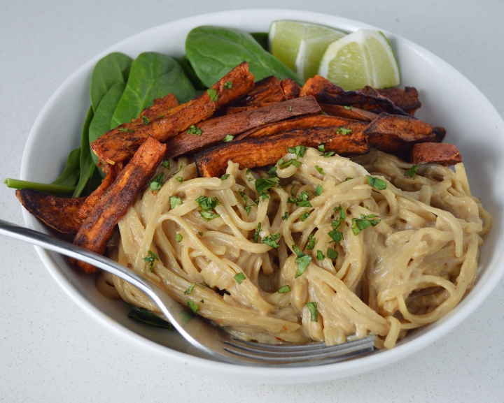 Creamy Thai Noodles with Cinnamon Roasted Sweet Potatoes