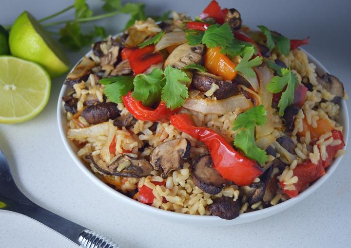 Fajita Brown Rice with Mushrooms, Peppers &Onions