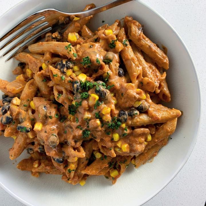 Creamy Tex-Mex Penne with Black Beans & Corn(vegan)