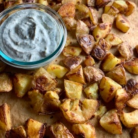 Extra Crispy Roasted Potatoes with Fried Sage Aioli (vegan)