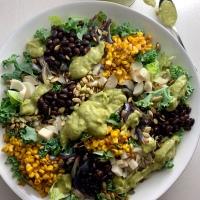 Tex-Mex Chopped Salad with Creamy Tomatillo-Avocado Dressing